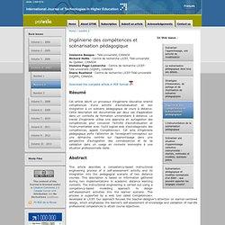 Ingénierie des compétences et scénarisation pédagogique - International Journal of Technologies in Higher Education - Nightly