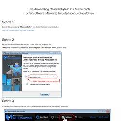 """- Malware: Die Anwendung """"Malwarebytes 2.0"""" zur Suche nach Schadsoftware (Malware) herunterladen und ausführen"""