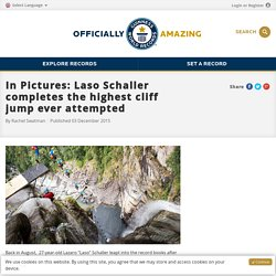 New photos: Laso Schaller completes the highest cliff jump ever attempted