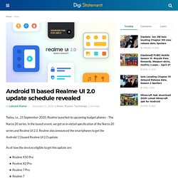 Android 11 based Realme UI 2.0 update schedule revealed