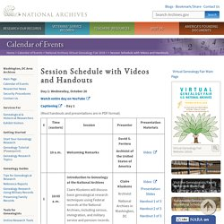 Session Schedule with Videos and Handouts