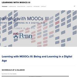 Schedule — Learning with MOOCs III