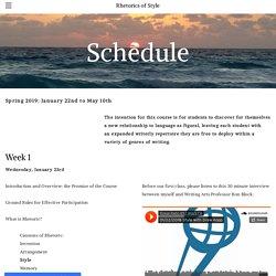Schedule - Rhetorics of Style