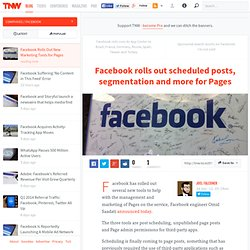 Facebook Rolls Out New Marketing Tools for Pages