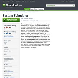 System Scheduler - Free software downloads and software reviews