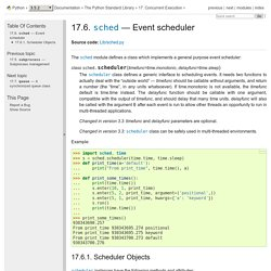 17.6. sched — Event scheduler — Python 3.5.2 documentation