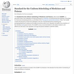 Standard for the Uniform Scheduling of Medicines and Poisons