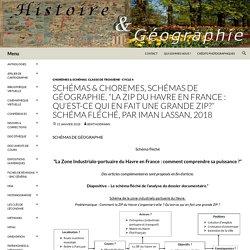 """SCHÉMAS & CHOREMES, Schémas de Géographie, """"La ZIP du Havre en France : qu'est-ce qui en fait une grande ZIP?"""" Schéma fléché, par Iman LASSAN, 2018"""