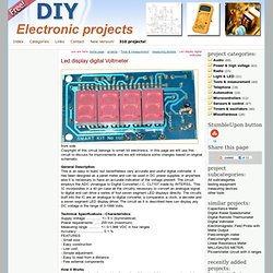 Led display digital Voltmeter - circuit diagrams, schematics, electronic projects