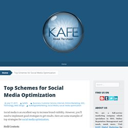 Top Schemes for Social Media Optimization