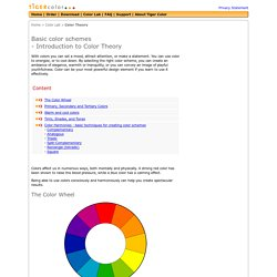 Basic color schemes: Color Theory Introduction