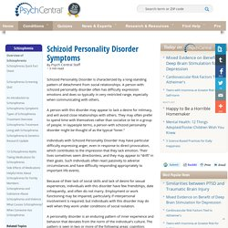 Schizoid Personality Disorder Symptoms