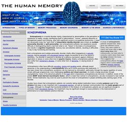 Schizophrenia - Memory Disorders - The Human Memory