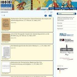 100(0) Schlüsseldokumente zur deutschen Geschichte im 20. Jahrhundert / 100(0) Schlüsseldokumente zur russischen und sowjetischen Geschichte (1917-1991) / Bayerische Staatsbibliothek (BSB, München)