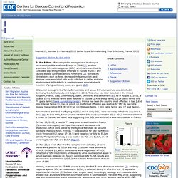 CDC EID – DEC 2012 – Au sommaire: Acute Schmallenberg Virus Infections, France, 2012