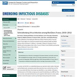 CDC EID - JANV 2014 - Schmallenberg Virus Infection among Red Deer, France, 2010–2012