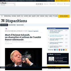 Mort d'Helmut Schmidt, ex-chancelier et artisan de l'amitié franco-allemande