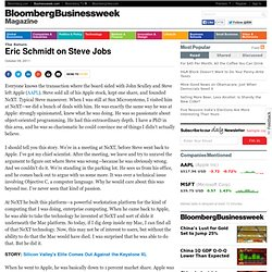 Eric Schmidt on Steve Jobs