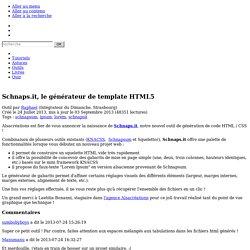 Schnaps.it, le générateur de template HTML5
