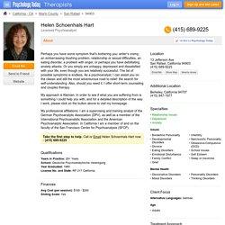 Dr. Helen Schoenhals Hart, Licensed Psychoanalyst, San Rafael, CA 94903