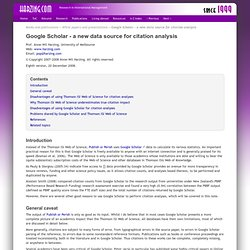 Google Scholar - a new data source for citation analysis