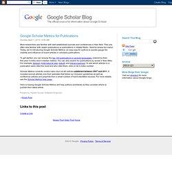 Google Scholar Metrics for Publications