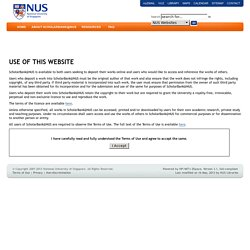 ScholarBank@NUS: Terms of Use