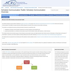 Scholarly Communication Overview - Scholarly Communication Toolkit - LibGuides at ACRL