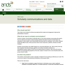 Scholarly communications and data - ANDS