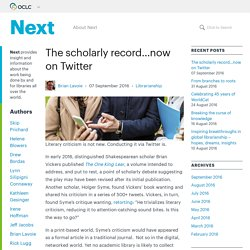 The scholarly record…now on Twitter - OCLC Next
