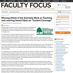 "Scholarly Work on Teaching and Learning Award Takes on ""Content Coverage"""