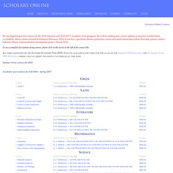 Scholars Online Course Offerings