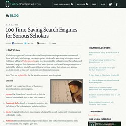 100 Time-Saving Search Engines for Serious Scholars - Online Universities.com