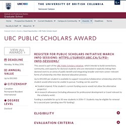 UBC Public Scholars Award - Graduate School - University of British Columbia - Vancouver - Canada