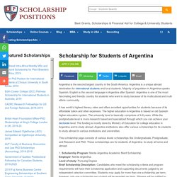 Scholarship for Students of Argentina Scholarship Positions 2018 2019