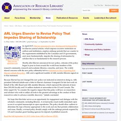 Urges Elsevier to Revise Policy That Impedes Sharing of Scholarship