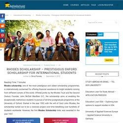 Rhodes Scholarship 2019 - Eligibility, Application Process & Rewards