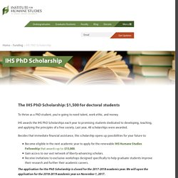 PhD Scholarship - Institute for Humane Studies