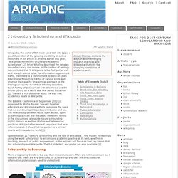 21st-century Scholarship and Wikipedia | Ariadne