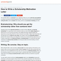 How to Write a Scholarship Motivation Letter - ScholarshipPortal