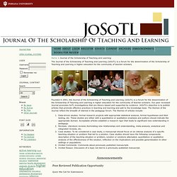 The Journal of Scholarship of Teaching and Learning