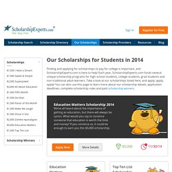Apply for Scholarships Awarded by ScholarshipExperts.com