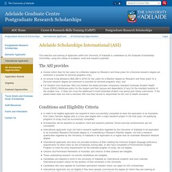 Adelaide Graduate Centre Postgraduate Research Scholarships