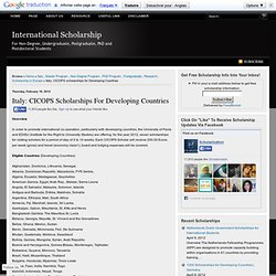 CICOPS scholarships for Developing Countries