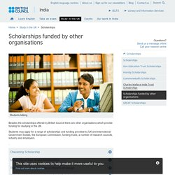 Scholarships funded by other organisations