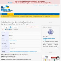 Scholarships for Graduates from Central-, Eastern- and Southeastern Europe - stipendija - Infostud