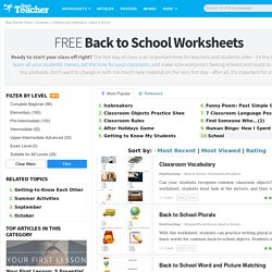 256 FREE First Day Of School Activities & Back To School Worksheets