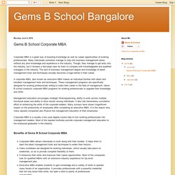 Gems B School Bangalore: Gems B School Corporate MBA