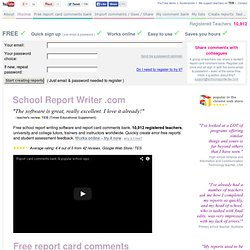 School Report Writing Software for Teachers — FREE & ONLINE