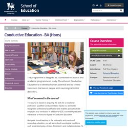 School of Education : Conductive Education - BA (Hons)